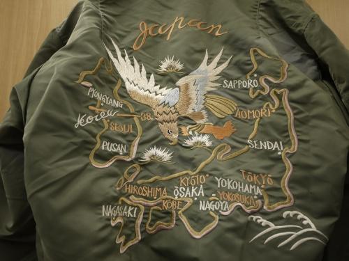 ジャケットの刺繍スカジャン