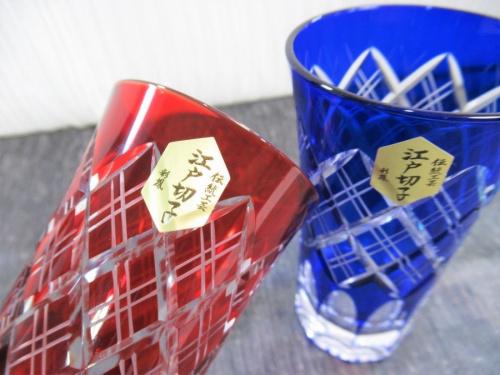 1口ビールペアグラスセットの江戸切子