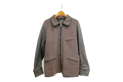 ジャケットのビーチクロスレザースリーブサックコート