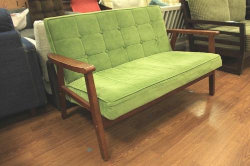 生活家具 2人掛けソファーのグリーン ブラウン