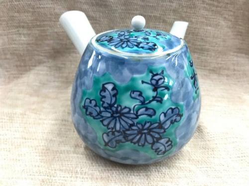 源右衛門窯の青彩菊絵茶器