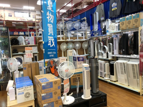 夏物家電 季節家電の買取 強化 扇風機 タワーファン 窓枠エアコン 冷風扇 除湿機
