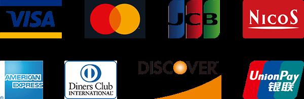 VISA,MasterCard,JCB,NICOS,AMERICAN EXPRESS,Diners Club,DISCOVER,UnionPay