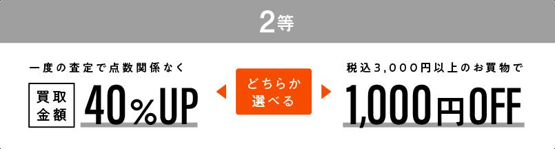 2等:買取金額40%UP or 1000円OFF